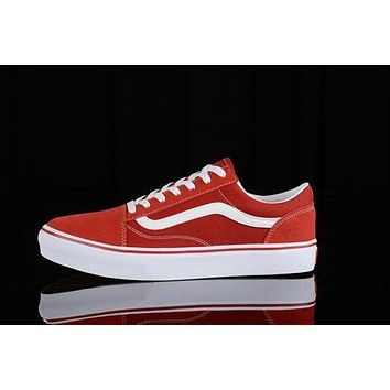 Vans Old Skool Low Top Men Flats Shoes Canvas Sneakers Women Sport Shoes White Red