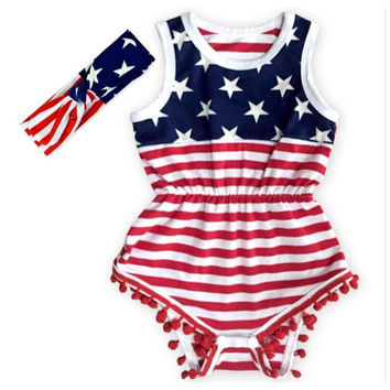 Lil Miss America Baby Girl July 4th, Memorial Day Pom Pom Romper