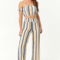 Striped Crop Top & Pants Set