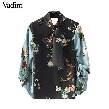 Vadim women bow tie neck floral shirts with gathered sleeves back cut out long sleeve vintage blouse chic tops blusas LT2371