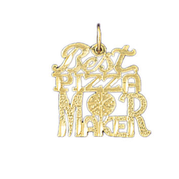 14K GOLD SAYING CHARM - BEST PIZZA MAKER #10829