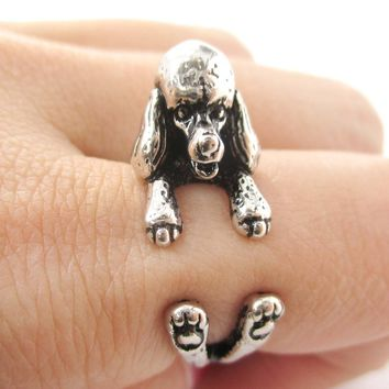 3D French Poodle Dog Shaped Animal Wrap Ring in Shiny Silver | Sizes 4 to 8.5