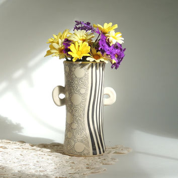 Neutral Grey and Cream Polka Dot and Stripes Whimsical Vase