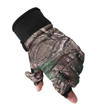 1pair 2 Fingerless Fishing Gloves 2 finger Cut Convertible to Flip Top Mens Winter Warmer Gloves Fishing Anti-Slip Useful Tackle