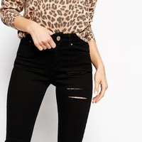 ASOS PETITE Ridley Skinny Jeans In Black With Thigh Rip And Busted Knees