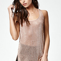 Kendall & Kylie Metalilc Loose Knit Tunic Tank Top at PacSun.com