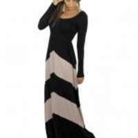 Black And Taupe Chevron Maxi Dress With Long Sleeves - A91