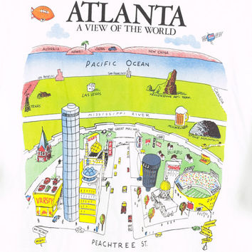 90s ATLANTA peachtree street tee / vintage 1990s shirt / Harvey Hutter a view of the world 1991 / illustrated map / georgia / mens large