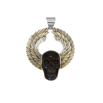 Winged Skull Pendant with Carved Bone Center Stone by Mercurious Designs