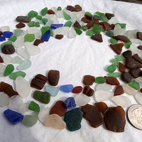 Beach Sea Glass Lot-150 Pieces-Craft Supplies Mosaics Beach Wedding Decor-Surf Tumbled Lake Erie