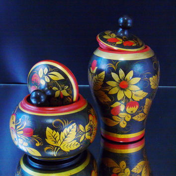 Vintage USSR Russian Khokhloma Lidded Canisters Ethnic Russian Folk Art Colorful Wooden Hand Painted Decorative