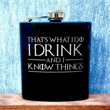 Black Pocket Flask with Game of Thrones Quotes