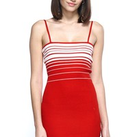 Red-Y Stripe Colorblock Adjustable Cami Mini Bodycon Dress