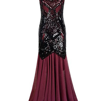 Kayamiya Women's 1920s Beaded Sequin Geometric Pattern Maxi Long Gatsby Flapper Prom Dress