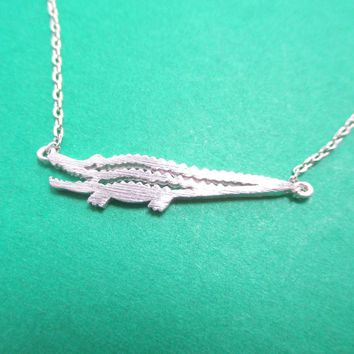 Minimal Crocodile Alligator Shaped Charm Necklace in Silver   DOTOLY