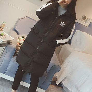 """Adidas"" Women Multicolor Hooded Long Sleeve Zip Cardigan Long Section Cotton Clothes Coat"
