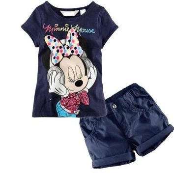 2016 Cartoon Baby Kids Boys Girls Dark Blue Minnie Mouse Tops T-Shirt + Shorts Outfits Set 1-6Y
