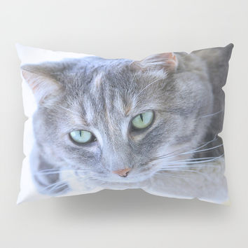 Aqua Eyes Pillow Sham by Theresa Campbell D'August Art