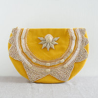 The golden flower clutch - gold beaded purse