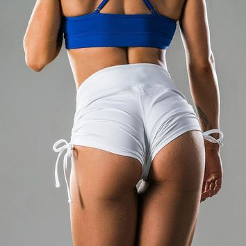 Mermaid Curve Fitness Women Shorts push up Sexy hip Workout Running tight shorts Two Side Rope  Quickly-dry Yoga Shorts