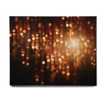 "Susan Sanders ""Copper Gold Glitter Lights"" Gold Brown Bokeh Holiday Photography Birchwood Wall Art"