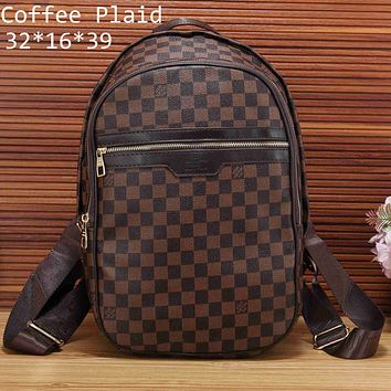 LV Louis Vuitton 2018 counter classic chess board for men and women shoulder bag F-KSPJ-BBDL coffee plaid