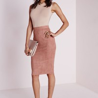 Missguided - Berryana Faux Suede Midi skirt Mauve