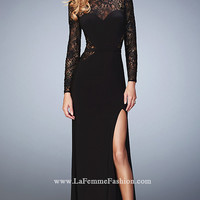 Black Long Prom Dress with Long Sleeves by La Femme