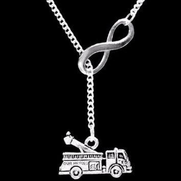 Fire Engine Truck Firefighter Gift Wife Daughter Mom Infinity Lariat Necklace