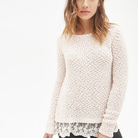 FOREVER 21 Lace Trim Knit Sweater Blush/Blush
