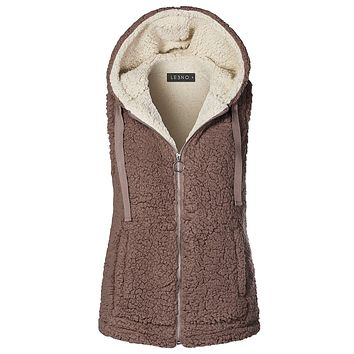 Winter Fuzzy Fleece Sleeveless Zip Up Hoodie Vest Jacket with Pockets