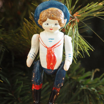 Vintage Chalkware Sailor Girl Ornament | Jointed Arms and Legs