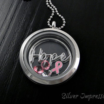 Hope Cancer Awareness Locket / Floating Locket / Awareness Jewelry