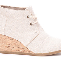 NATURAL METALLIC LINEN WOMEN'S DESERT WEDGE BOOTIES