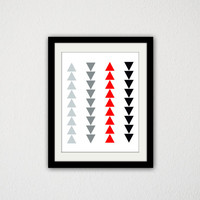 "Pop of Red Geometric Triangle Poster. Tribal. Gray. Black. Red. Row of Triangles. Minimalist. Simple. Art Print. Home Decor. 8.5x11"" Print."