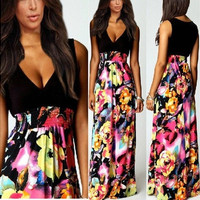 High Quality Summer Womens Floral Print Chiffon V-Neck Boho Maxi Sundress