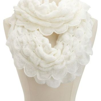 RUFFLED KNIT INFINITY SCARF