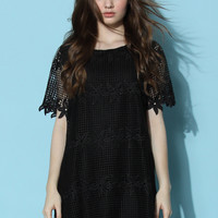 Black Wreath Crochet Shift Dress  Black