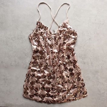 set the tone sequin disc mini dress - rose gold