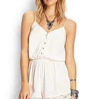 FOREVER 21 Crochet Lace Romper Cream Large