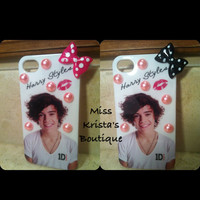 One Direction Iphone 4 Case Harry Styles 1D Hard Pink Black Bow Cover
