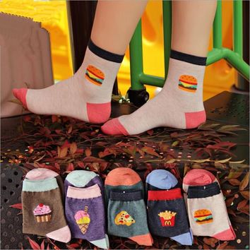 Food Pizza Hamburger Women Cotton Crew Socks Funny Crazy Cool Novelty Cute Fun Funky Colorful