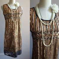 Glamour Gatsby 1920s Flapper Charleston Sequins Gold Vintage Gold Dress