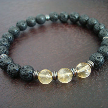 Men's Lucky Citrine Mala Bracelet - November Birthstone Mala Bracelet - Yoga, Buddhist, Meditation, Jewelry