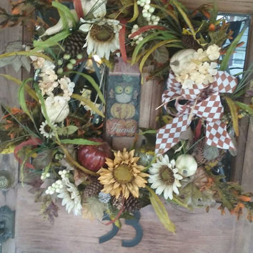 Autumnal Welcome Friends Wreath. White Sunflowers and White, Rust and Green Mini Pumpkins with Coordinating Greenery. Harlequin Bow.