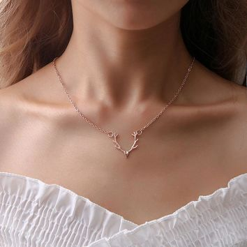 Christ Christmas Little Antler Deer Head Elk Necklace Jewelry Classic Rose/Gold/Silver Color Chokers Necklaces For Women Girls
