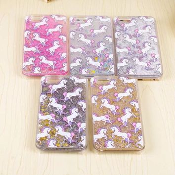Cartoon Unicorn Horse Dynamic Paillette Glitter Stars Water Liquid Case for iPhone 5