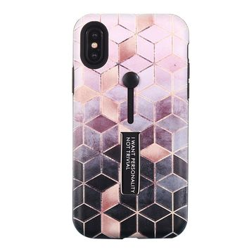 Geometric Diamond Pattern Phone Case with Kickstand and Rubber Strap