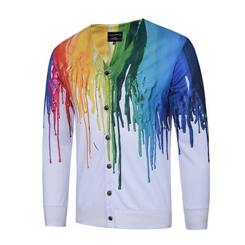 New Arrivals Men&'s V-neck Long Sleeve Shirts 3d Print Splash Paint Fashion Shirts Tops Tees 3d Blou