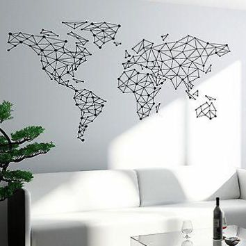 Wall Art World Map Atlas Travel Vacation Vinyl Sticker Unique Gift (z2821)